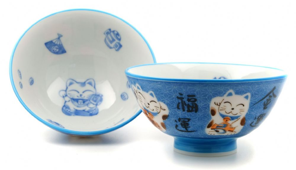 Blue Lucky Cat bowls Japanese & two
